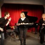 Alastair Smyth (Innkeeper), Taylor Strande (Comtesse) & Nina Scott-Stoddart (Baronne) in rehearsal [Stirling Photography]